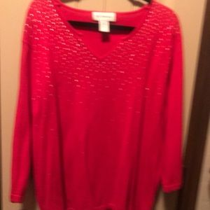 Long Sleeve Red Sweater with Gold brads.